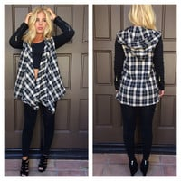 Pure Nirvana Plaid Drape Jacket - TAUPE & BLACK