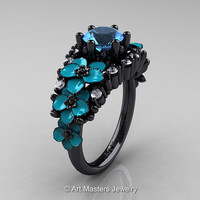 Nature Classic 14K Black Gold 1.0 Ct Blue Topaz Diamond Turquoise Orchid Engagement Ring R604-14KBGDTBT