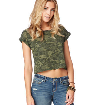 Map to Mars Womens Map to Mars Camo Boxy T-Shirt - Green,