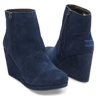 NAVY SUEDE WOMEN'S DESERT WEDGE HIGHS