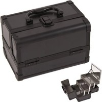 Cosmetic Makeup Train Case with Mirror and Extendable Trays Color: Black