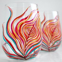 Neon Stemless Wine Glasses