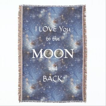 Moon Love You Space Throw Blanket