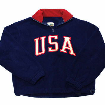 Vintage 90s USA Fleece Jacket Made in USA Mens Size Small