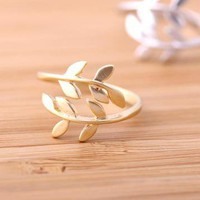 leaf ring adjustable gold by bythecoco on Zibbet