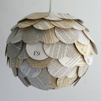 Artichoke Mixed Book Page Pendant Light by Zipper8Lighting