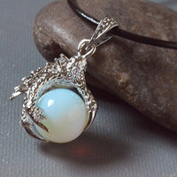 Opalite Silver Dragon Claw Talon Gemstone Sphere necklace