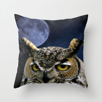 Owl and Blue Moon Throw Pillow by Erika Kaisersot