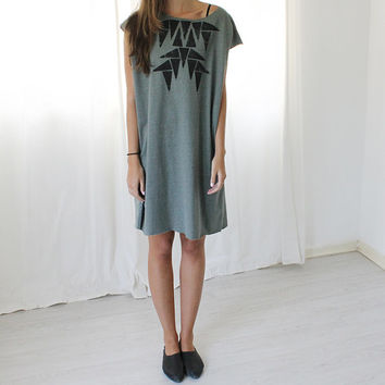 Women t-shirt dress, Sage Green dress, Geometric triangles printed dress, Designer dress, Loose shape dress