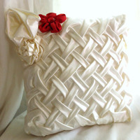 Satin cream/ivory wedding pillow White/cream by RomanticFlower