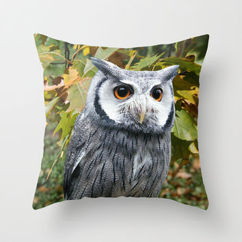 Owl and Leaves Throw Pillow by Erika Kaisersot