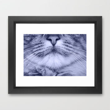 cats details blue Framed Art Print by Steffi ~ findsFUNDSTUECKE