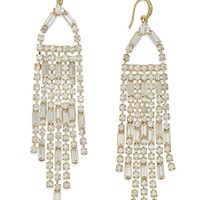 ABS by Allen Schwartz Gold-Tone Chain and Crystal Long Chandelier Earrings