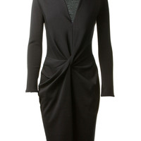 LANVIN BLACK LONG DRAPED WOOL DRESS