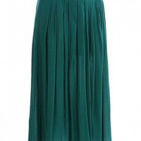 PLEATED ANKLE LENGTH SKIRT-Skirts-Long Skirts,Mini Skirts,mid-lenth skirts,leather skirt,maxi skirt,pleated skirt,floral skirt,colorful skirts,a line skirt,silk skirt,plus size skirts,sexy skirts