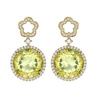 Diamond, lemon-quartz & gold earrings