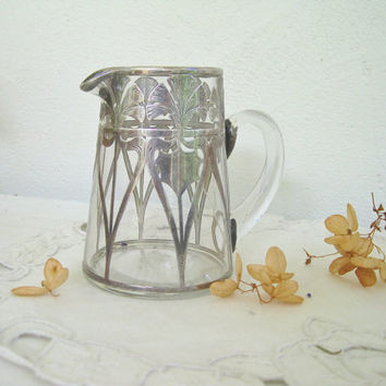 little art nouveau pitcher -  glass with sterling silver overlay - very isadora
