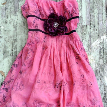 SALE French country Garden Party Dress, Pink Shabby Cottage Chic,  Cowgirl, FOR SHAE, Sundress Slip dress Cottage chic True rebel clothing