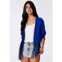 Missguided - Ivona Blue Fringed Faux Suede Jacket