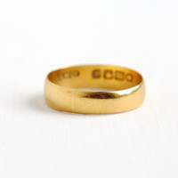 Antique 22k Yellow Gold Wedding Band Ring - Size 6 1/4 Vintage English London Dated 1915 Edwardian Art Deco Fine Jewelry