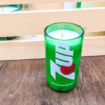 7UP Green Glass Soda Bottle Soy Candle - Volcano Fragrance Type - Caldera