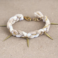 Beige bracelet with spikes, braid bracelet in ecru and white, spike bracelet, boho bracelet