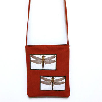 Dragonfly cross body, Orange dragonfly bag, Orange cross body, Dragonfly tote, Orange purse, Orange hand bag, Orange tote bag