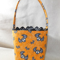 Fun Bat Themed Halloween Fabric Basket With Handle