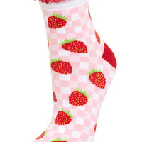 Strawberry Gingham Sock