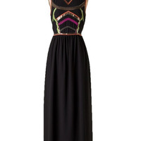 Neon Nights Embellished Maxi Dress - Black + Neon | Daily Chic