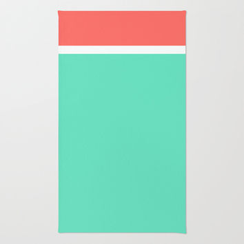 Coral/White/Teal Stripe Area & Throw Rug by Bethany Mallick