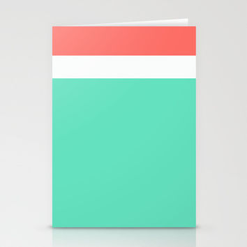 Coral/White/Teal Stripe Stationery Cards by Bethany Mallick