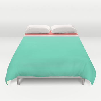 Coral/White/Teal Stripe Duvet Cover by Bethany Mallick