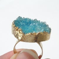 Turquoise Gold Plated Druzy Ring, Blue Druzy Drusy Crystal Quartz Adjustable  Gold Dipped Rings, Bohemian Gypsy Chic