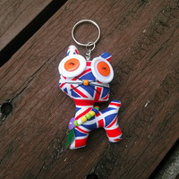 Cute Cat British UK Flag Recycle Vintage Fabric Doll Keyring Keychain Key Ring Chain Charm Hanging Bag Car Handmade Gift Toy Girlish