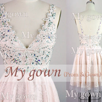 New Short Prom Dress,Straps Crystal Lace Homecoming Dress,Evening Gown,Formal Dress,Grad Dress,Party Dress,Evening Dress,Informal Prom Dress
