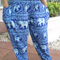 Dark Blue High Waist Elephant Yoga Pants Style Aladdin Printed Casual Beach Hippie Rayon pants Gypsy Thai Batik Tribal Tank Fisherman