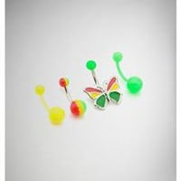 14 Gauge Rasta Butterfly Banana 4 Pack