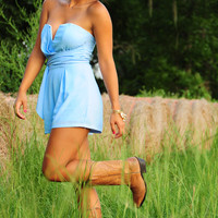 Sharp Shooting Bombshell Romper: Baby Blue