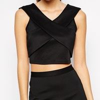 Girls On Film Petite Scuba Crop Top