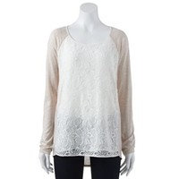 LC Lauren Conrad Lace Mixed-Media Tunic - Women's