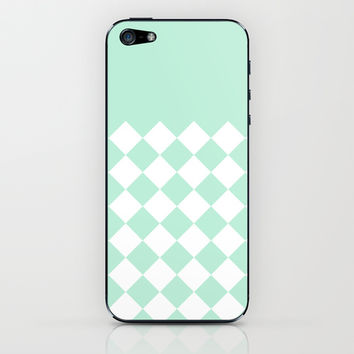 Diamond Mint Green & White iPhone & iPod Skin by BeautifulHomes | Society6