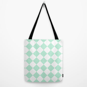 Diamond Mint Green & White Tote Bag by BeautifulHomes | Society6