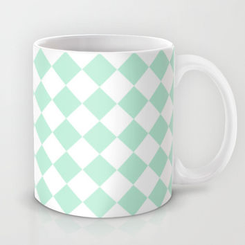 Diamond Mint Green & White Mug by BeautifulHomes | Society6