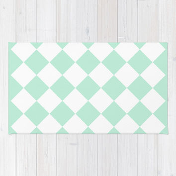 Diamond Mint Green & White Area & Throw Rug by BeautifulHomes | Society6