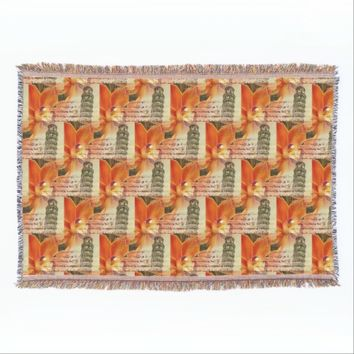 Pisa Orchid Italian Orange Throw Blanket