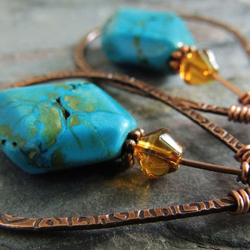 Tribal Copper Hoop Earrings, Chinese Turquoise Earrings, Teardrop Hoops, Boho Earrings, Earthy, Free Spirit