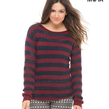 STRIPED SCOOP-BACK SWEATER