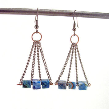 Blue Crazy Lace Agate Earrings, Vintage Chain Earrings, Dangle Earrings, Repurposed Earrings, Mixed Metal Earrings