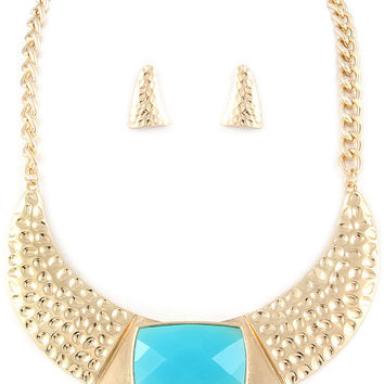 GOLD Necklace , Necklace and Earrings Set , Turquose and Gold Necklace , Necklace